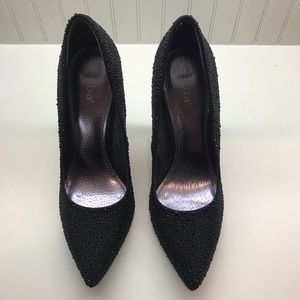 DIBA: Black Rhinestone Stilettos Size 9